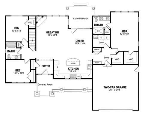 house plan with front kitchen house plan 94182 at familyhomeplans com