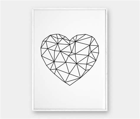 printable wall art hearts geometric heart heart wall art heart printable scandinavian
