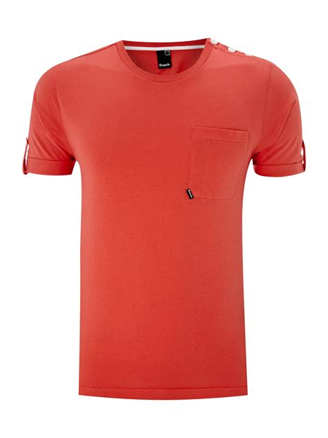 bench t shirts for men bench crew neck tshirt with pocket detail in pink for men
