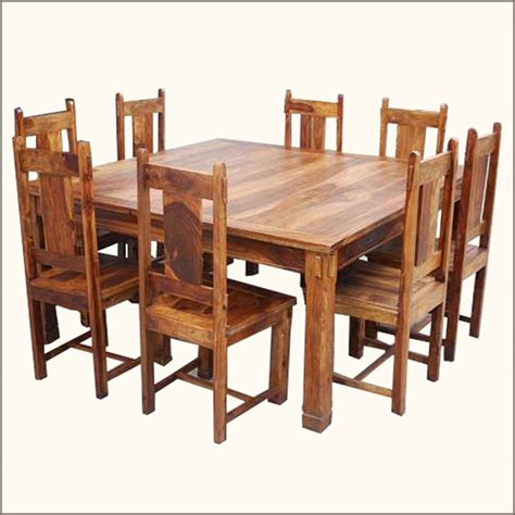 9 pc square dining table and chairs set for 8