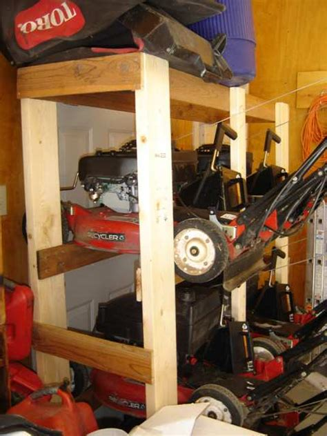 depending   season stack  snow blower  lawn garage overhead storage pulley systems