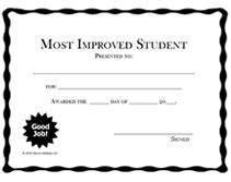 most improved certificate template printable most improved student awards school certificates
