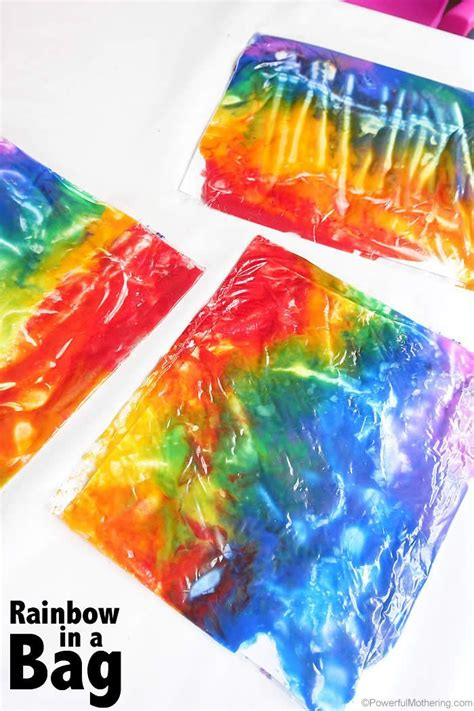sensory crafts for rainbow in a bag no mess tired and rainbows