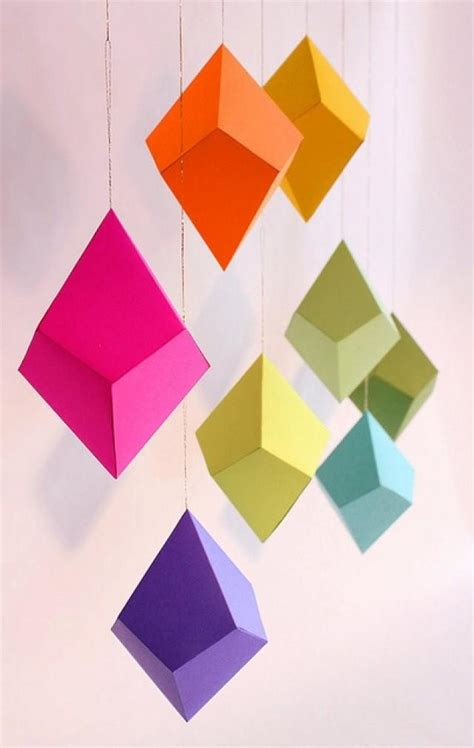 paper pattern geometric shapes diy geometric paper ornaments set of 8 paper polyhedra