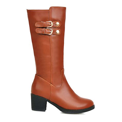 most comfortable knee high boots 2016 winter women leather boots sexy thick heel women