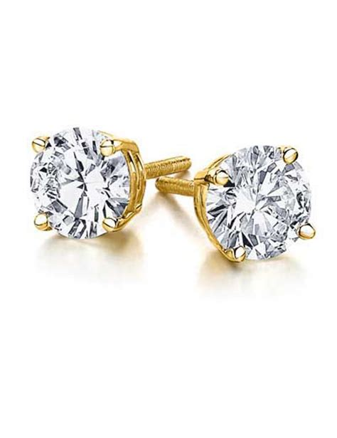 0.75ct Genuine Round Diamond 14k Yellow Gold Stud Earrings