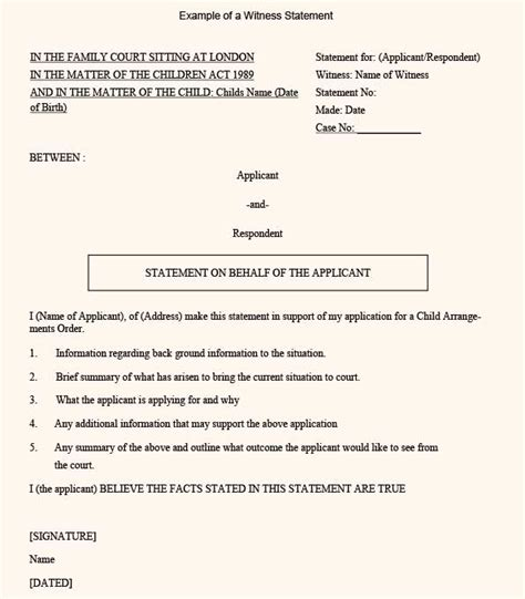 witness letter template a sle position witness statement