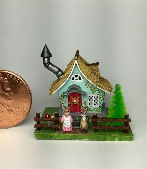 bunny doll house ooak miniature dollhouse cottage storybook easter bunny rabbit putz