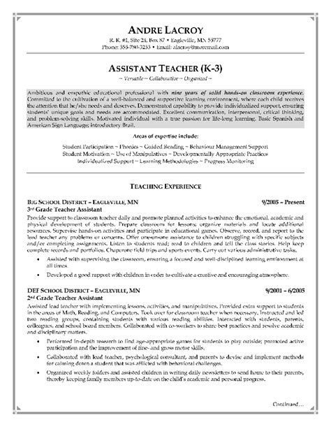 Resume For Teaching Assistant by Teaching Assistant Resume Writing Exle