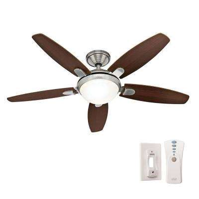 54 contempo led brushed nickel fan with remote hunter ceiling fans ceiling fans accessories the