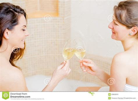 lesbians having in the bathroom cheers my dear stock photo image 55852819
