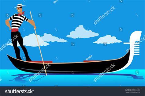 cartoon venice boat cartoon gondolier rowing gondola eps 8 stock vector