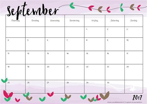 Calendar 2017 September October Free Printable Kalender Voor 2017 Hip Blogazine
