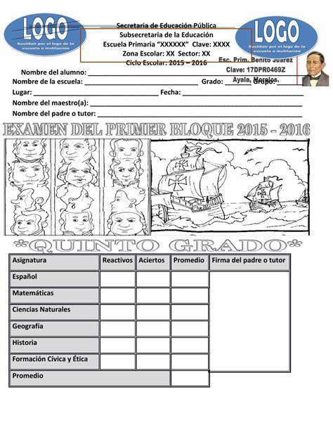 examen quinto grado 2016 examen quinto grado bloque 2 2015 2016 by princesa bella