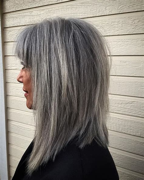 long gray hair with bangs 1000 images about going gray on pinterest silver hair