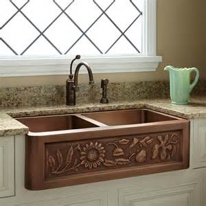 36 quot floral design bowl copper farmhouse sink kitchen