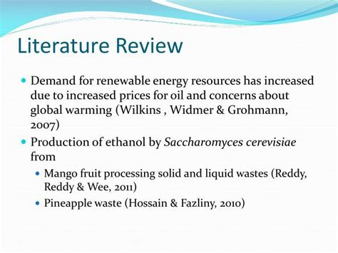 Global Warming Review Of Literature by Ppt Ethanol Yield From Fruit Peels And Adsorption Of Heavy Metal Ions Powerpoint Presentation