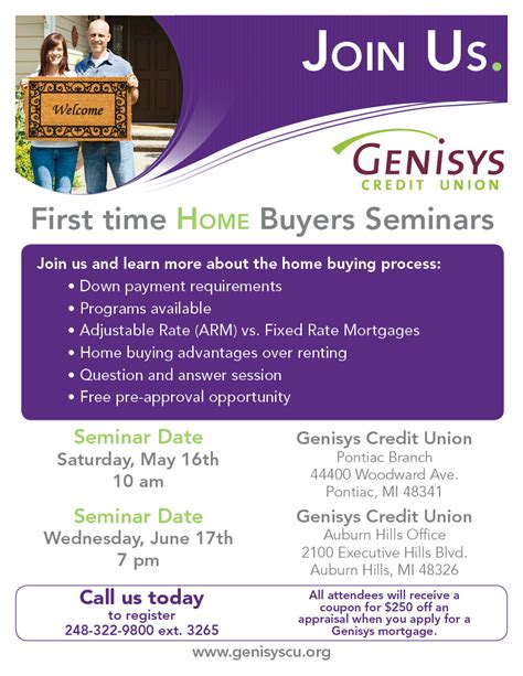 genisys bank 1st time home buyers seminars genisys 174 credit union