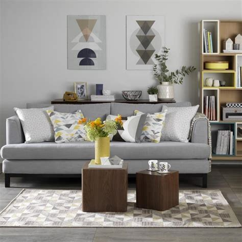 grey and mustard living room grey living room with retro textiles in shades of mustard and teal grey living room ideas