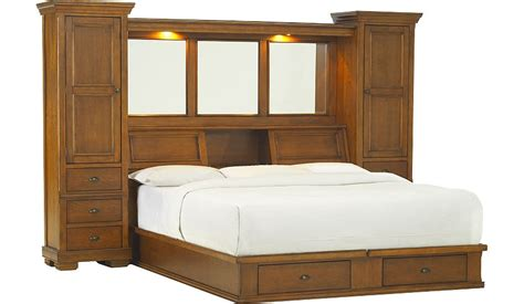 Bookcase Headboard King Sonoma Valley King Wall Bed With Storage Platform Havertys Furniture Beds With Bookcase