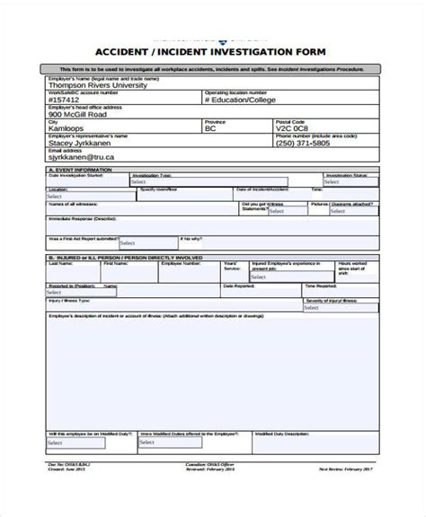 incident investigation template incident report form exle