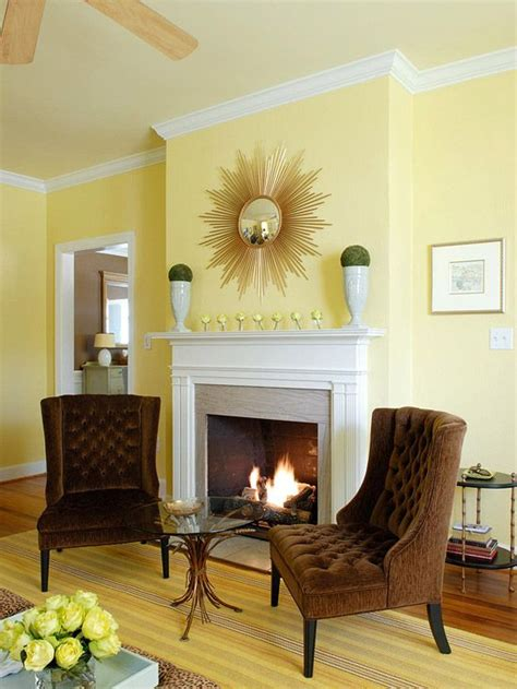 yellow fireplace yellow living rooms paint colors fireplaces and brown