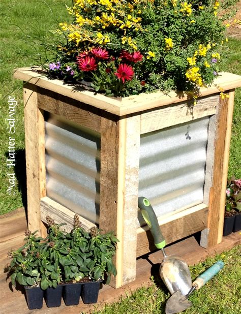 reclaimed lumber and metal roofing planter box
