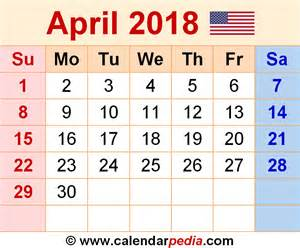 Kalender 2018 April April 2018 Calendars For Word Excel Pdf