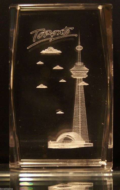 cn tower ornaments toronto cn tower 3d etched block 3 quot x 2 quot x 2 quot ebay ornaments i own crystals