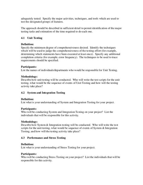 sle test plan template