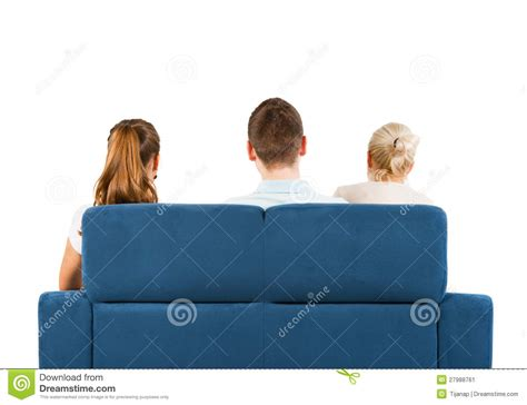 people having on the couch three people sitting on a sofa back stock image image