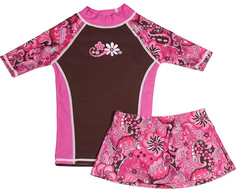 Set Print Swim Top Skirt rash guard swim shirt rash guard and skirt set