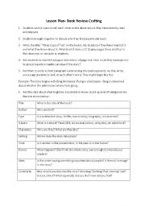 book report lesson plan teaching worksheets writing a report
