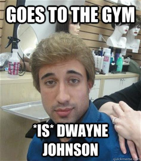 The Rock Gym Memes - goes to the gym is dwayne johnson douchebag adam