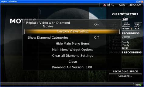 theme mod list guide sagetv diamond ui mod and theme walkthrough