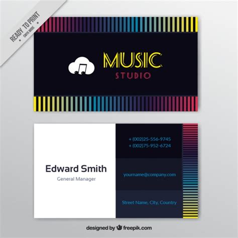 colored line template business cards business card with colored lines for a studio vector