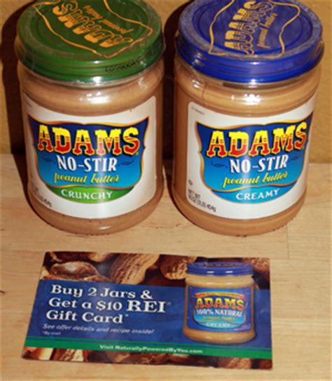 Where To Buy Rei Gift Cards - buy two adams natural peanut butter get 10 rei gift card