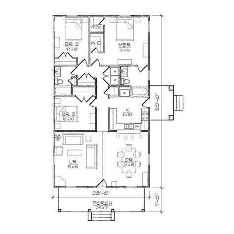 Narrow Home Plans Haywood Iii Bungalow Floor Plan Tightlines Designs