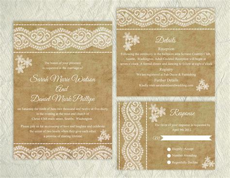 wedding invitation pdf file printable lace wedding invitation suite printable rustic