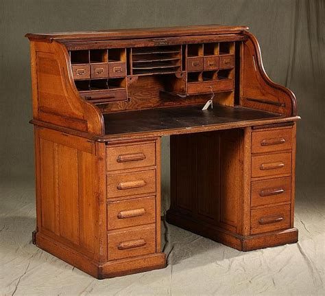 american oak roll top desk