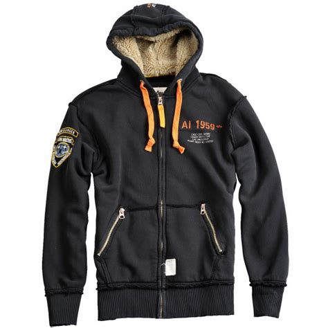 alpha rescue alpha industries rescue zip hoodie in black