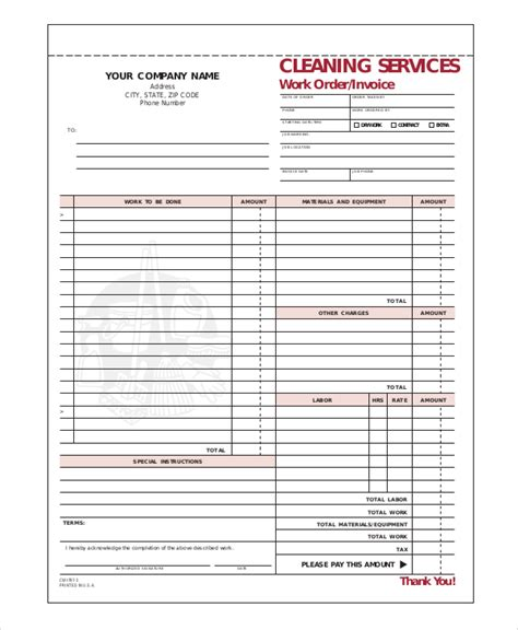 Cleaning Receipt Template by Sle Cleaning Invoice Hardhost Info