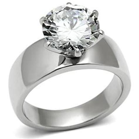 Wide Band Solitaire CZ Womens Stainless Steel Wedding Ring SIZE 5,6,7,8,9,10   eBay