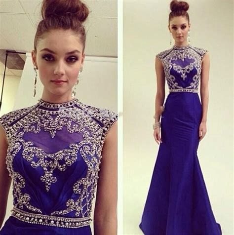 elegent prom dresses 2015 high neck beaded pearls navy