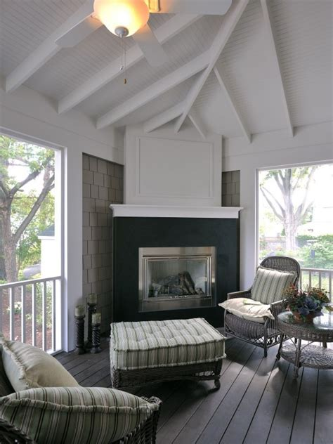 Screened In Porch With Fireplace by Screened Porch With Corner Fireplace Outdoor Room