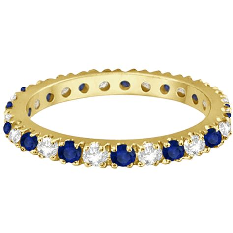 Blue Sapphire Memo 5 51ct blue sapphire eternity ring stackable 14k yellow