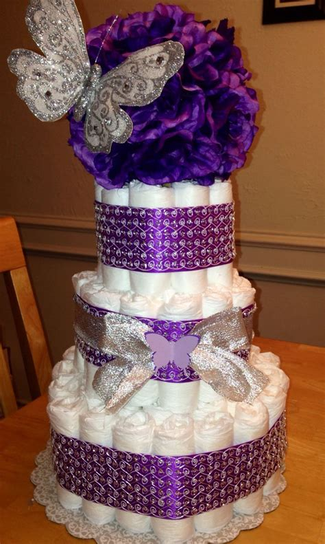 Purple Butterfly Baby Shower Cake by Purple Silver Butterfly Cake Made By Tara Torres