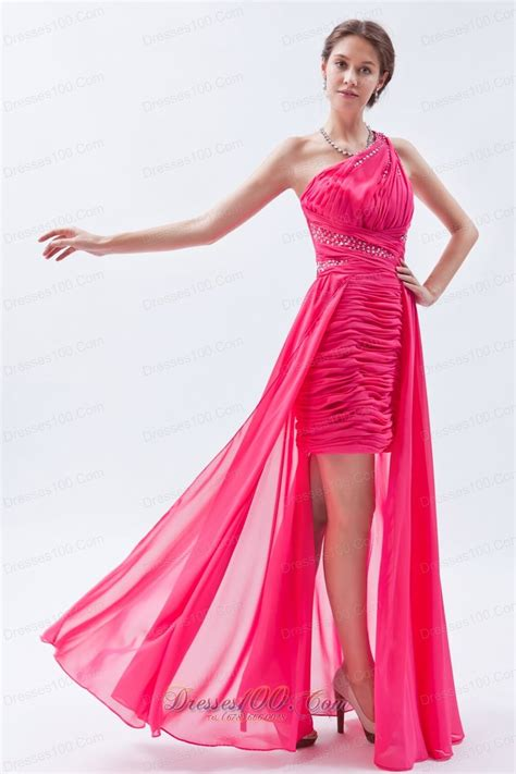 Graziella Top Pink Size 8th sequin one shoulder pink high low prom dress