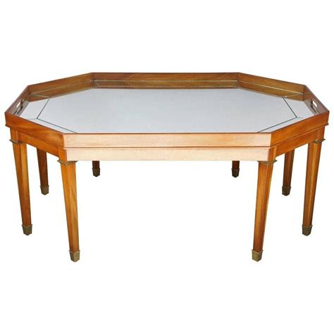 vintage mahogany and mirror topped coffee table by