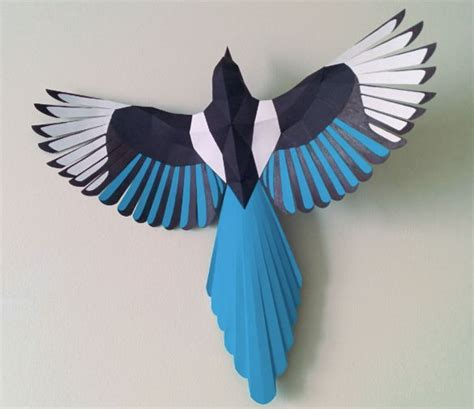 Papercraft Bird Template - new paper craft animal paper model magpie free bird
